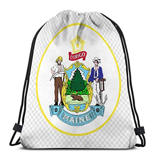 Lsjuee Drawstring Backpacks Bags for Gym Home Travel Exercise Emblem Maine State USA Emblem Province