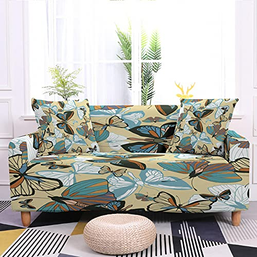 WXQY Funda de sofá con Estampado de Mariposas Protector de sillón Funda de sofá con Todo Incluido Flexible Funda de sofá A2 3 plazas