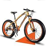 Mens Fat Tire Bicicleta De Montaña, Doble Freno De Disco De 26 Pulgadas Bicicletas Crucero, 4.0 Ruedas Anchas, Nieve De La Montaña Bici De La Playa Al Aire Libre Bicicleta En Declive,Naranja,7speed