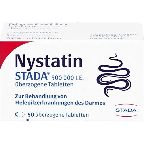 STADA Nystatin 500 000 I.E. - Arzneimittel zur Behandlung von Hefepilzerkrankungen des Darms - gute Verträglichkeit - auch für Schwangere geeignet - 1 x 50 überzogene Tabletten