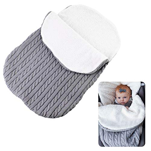 FAMKIT Saco de dormir para bebé, bebé, tejido de ganchillo, manta de forro polar, cálida para bebés y niñas