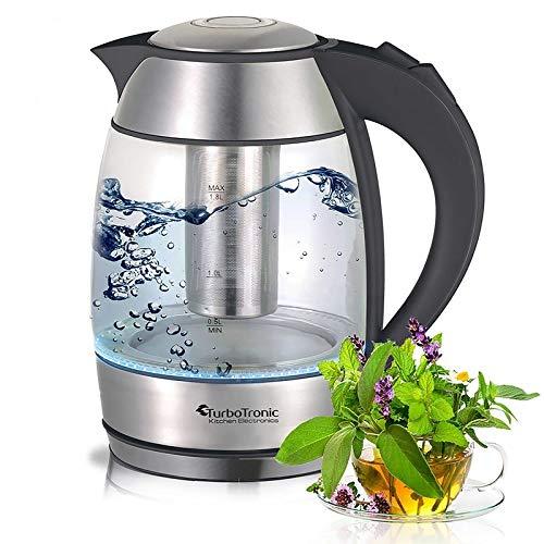 TurboTronic Glas Wasserkocher/Teekocher mit Teesieb aus Edelstahl und blauer LED Beleuchtung 1,8 Liter BPA Frei 2200W