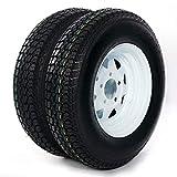 PARTS-DIYER 2PCS 13' ST175/80D13 Tubeless Trailer Tires 5 Lug Wheel White Spoke w/Rims 6PR Load Range C
