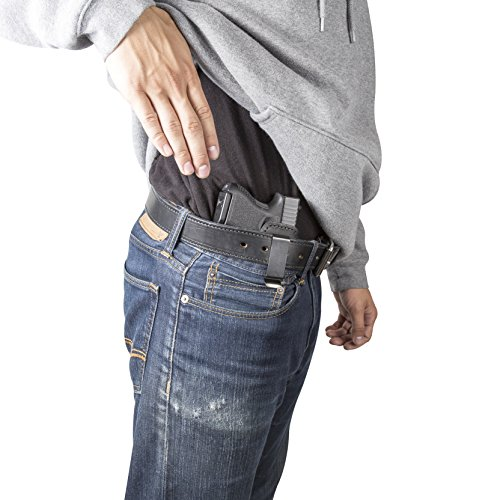 Relentless Tactical The Defender Leather IWB Holster - Made in USA - For S&W M&P Shield - GLOCK 17 19 22 23 32 33/Springfield XD & XDS/Plus All Similar Sized Handguns – Black – Right Handed