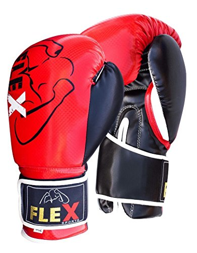 Flex Sports rot Carbon Boxhandschuhe Muay Thai Training Carbon Effekt Leder Sparring Boxsack Handschuhe Kickboxen Fighting Fokus Pads, 226,8 g (8 oz)
