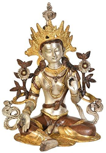 Exotic India tibetisch-buddhistischen Gottheit grün Tara Statue, Messing, Mehrfarbig, 30.99X 24,13x 39,37cm