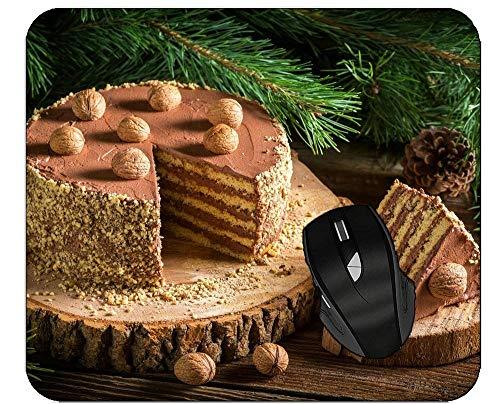 Rutschfeste Gummi Mauspad Weihnachten Kiefer Hintergrund Dessert Kuchen Mousepad