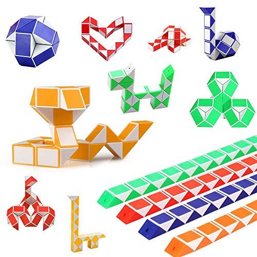 Eyscoco Schlange Würfel,12 Stücke 24 Blöcke Würfel Spielzeug Magische Geschwindigkeit Würfel Mini Puzzle Würfel Spielzeug für Kinder Party Supplies Zufällige Farbe