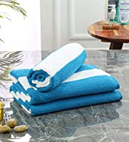 Save on Bathe & Soak Pack of 3 Microfiber Bath Towel Cabana, 70x140 cms, Large, 250 GSM (White & Blue) and more
