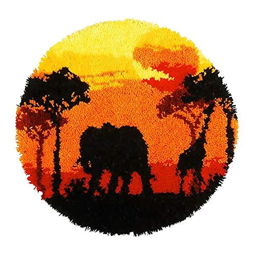 Carpet Embroidery Landscape Latch Hook Rug Elephant Printed Cushion Needlework DIY Rugs Home Decor