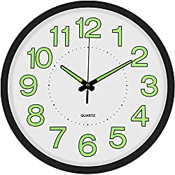 12-inch Modern Silent Wall Clock Battery Operated Non Ticking Digital Luminous Round Decorative Wall Clock, for Kitchen, Living Room, Bedroom, Bathroom, Office (White Black)