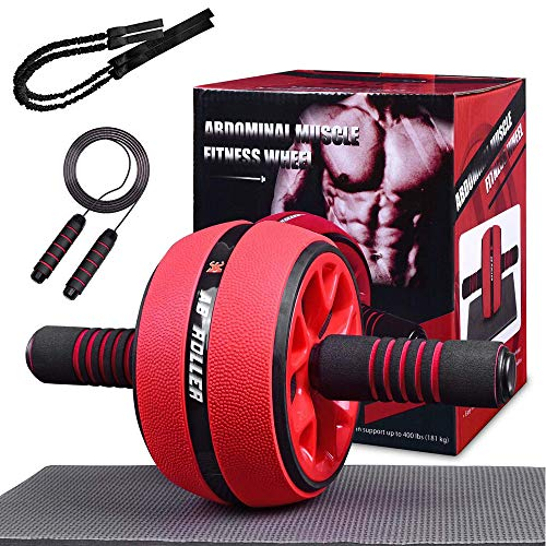 Rodillo de entrenamiento abdominal AB con cuerda para saltar, dispositivos de rodillo abdominal para entrenamiento, ayuda para el entrenamiento de fuerza muscular (estilo 1 con bandas de resistencia)