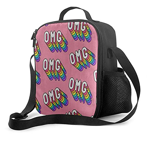 Bolsa de almuerzo para hombre, con palabras de arcoíris, Omg en rosa, con aislamiento, para preparación de comidas, lonchera para niños grandes, niñas, adultas, para mujeres, enfriador térmico, bolsa