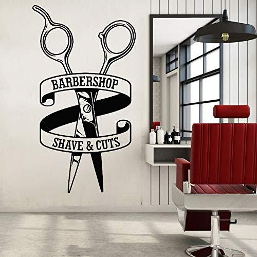 Peluquería pegatinas de pared de vinilo tijeras patrón calcomanías afeitar y cortar calcomanías para el cabello peluquería pegatinas de ventana 42x76 cm