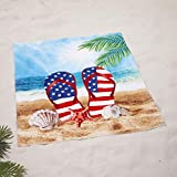 The Lakeside Collection Oversized 54' x 68' Jumbo Beach Towel for Swimming - Americana Flip Flops