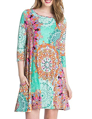 Buauty Women's Long Sleeve Floral Printed Casual Swing T-Shirt Dress with Pockets