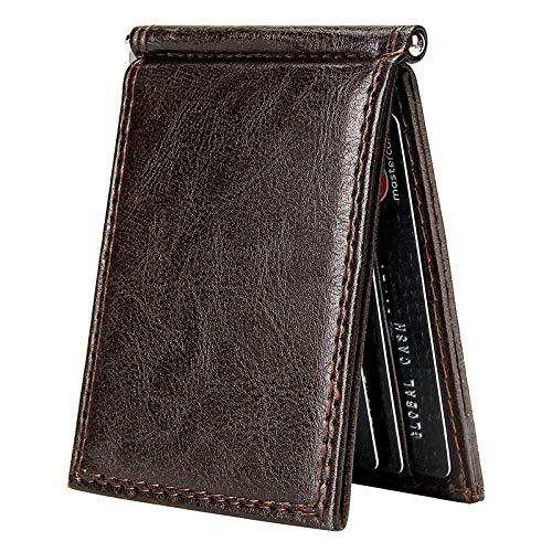 Borsa da uomo Clip Money wallet Retro Slim Portafoglio Bifold Breve Portafoglio Multi Card Slot cuoio dell'unità di elaborazione Biglietto da visita Uomo Borsa da tasca da uomo ( Color : Coffee )