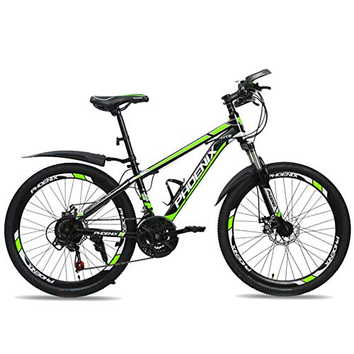 HUAQINEI 24 Inch Mountain Bike, 21-Speed Bicycle Full Suspension ??Gears Dual Disc Brakes Mountain Bicycle