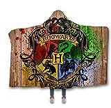 3D Printed Harry Potter mit Kapuze Decke, Kapuzenumhang Double Layer Thick Plüsch Throwable...