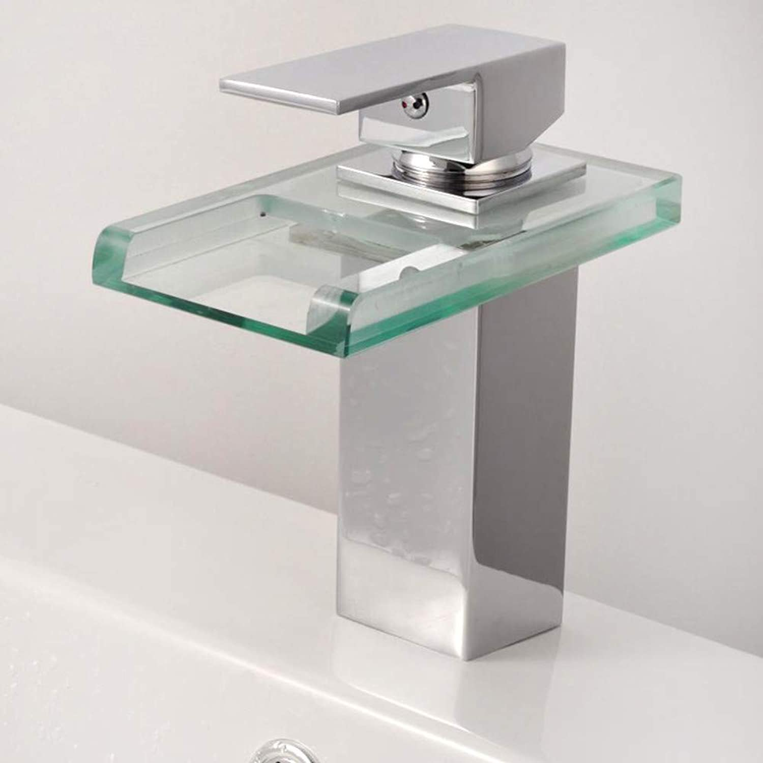 Kitchen Sink Taps Bathroom Sink Taps ?Basin Faucet Temperature Control color Glass With Light Glass Sink Waterfall Faucet