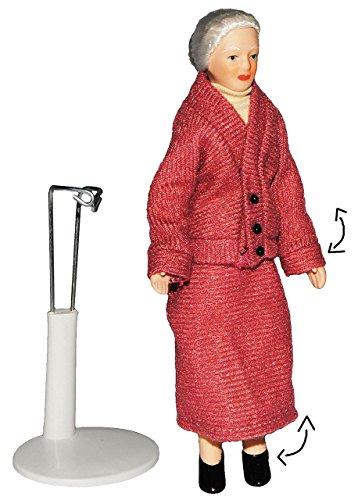 alles-meine.de GmbH Oma / Großmutter - Puppe für Puppenstube - Maßstab 1:12 - Porzellan mit echten Haaren & incl. Ständer - Biegepuppen Familie Biegepuppe Nostalgie Porzellanpupp..