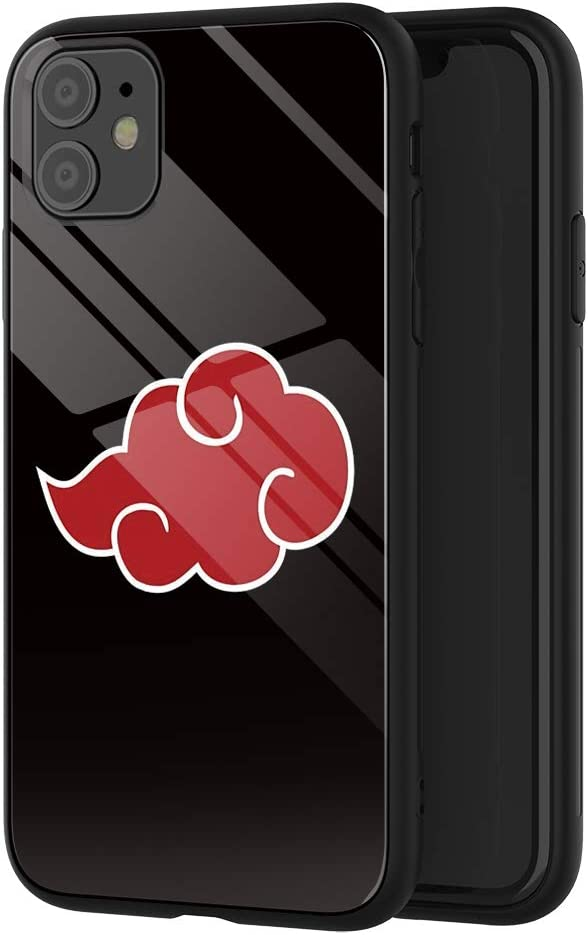 Phone Case Compatible with iPhone 11, Anime Naruto Akatsuki Pattern Design Tempered Glass Back Cover Phone Cases 6.1 inch(B)