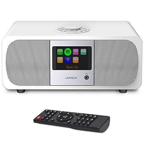 LEMEGA M3+ Smart Music System (2.1 Stereo) mit Wi-Fi, Internetradio, Spotify, Bluetooth, DLNA, DAB, DAB+, UKW-Radio, Uhr, Wecker, Voreinstellungen und drahtloser App-Steuerung - Satinweiß