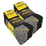 sockenkauf24 10 o 20 Pares Calcetines de trabajo Hombre WORK (43-46, 10 Pares | Negro/Gris jaspeado)