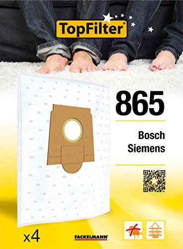 TopFilter 865, 4 sacs aspirateur pour Bosch, Siemens, boîte de sacs d'aspiration en non-tissé, 4 sacs à poussière (30 x 26 x 0,1 cm)