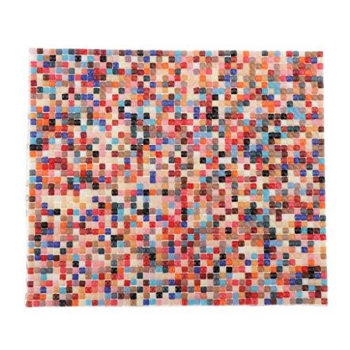 T TOOYFUL Mini Kunststoff Mosaik Wandteppich/ Bodenbelag / Tapete / Fliesen für 1/12 Puppenstube Puppenhaus - Bunt