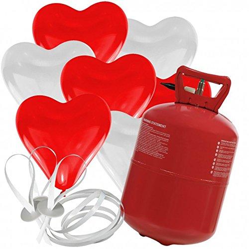 30 Herz Luftballons freie Farbwahl mit Helium Ballon Gas Hochzeit Valentinstag Komplettset (Rot/Weiß)