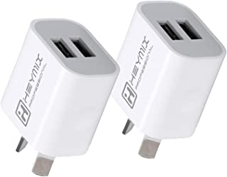 HEYMIX AU Plug USB Wall Charger, Dual 2-Port USB Charger Plug Power Adapter, 2-PACK 5V/2.1A SAA Certified Compatible with ...