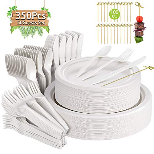 Compostable Paper Plates 250 Pcs Disposable Dinnerware Set Heavy-Duty Quality Natural Bagasse Made of Sugar Cane Fibers Biodegradable Plates and Cutlery for Party, BBQ, Picnic (white plates)