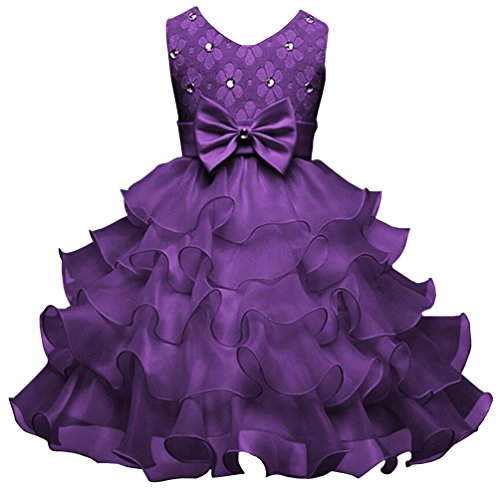 Csbks Girls Wedding Party Dress Pageant Baby Ruffles Tulle Princess Dresses Dark Purple 100