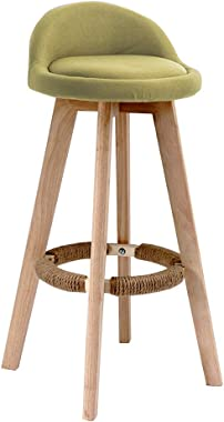Breakfast Stool Wooden Barstools Footrest with Hemp Rope | Household Kitchen Breakfast Pub High Chair | Modern Style Barstool