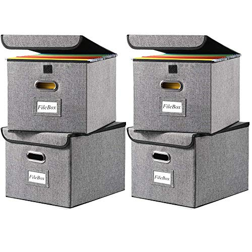File Boxes 4PackLetter Legal Size Multi-purpose Linen File Storage Box Organizers Collapsible Foldable Decorative Linen Storage Hanging Filing Folders with Lids Office Gray File Box Filing Box
