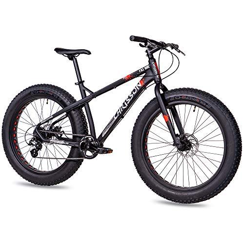 CHRISSON 26 Zoll Fatbike Mountainbike Fahrrad - Fat ONE - Hardtail Fat Tyre Mountain Bike - MTB mit 4.0 fette Reifen und 8G Shimano Schaltung und Zwei Scheibenbremsen