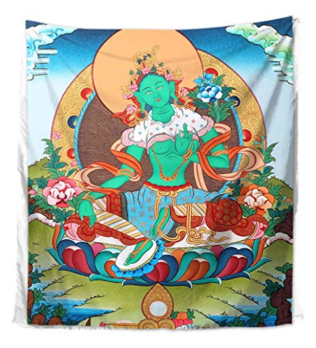 WholesaleSarong Emerald Green Goddess Green Tara Tibetan Thangka Wall Tapestry Wall Decor 59 x 51 inches