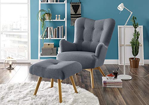 Stella Trading Arndt Sessel inkl. Hocker Chaises Longues, Microvelour, Linea 19 steel grey, 77 x 101 x 100