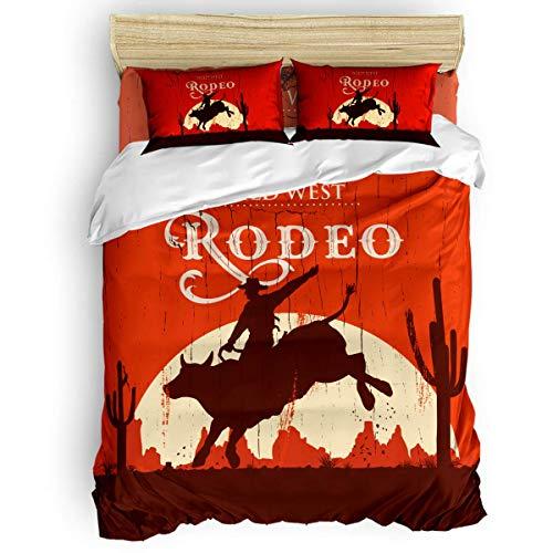 HARXISE Juego de Funda nórdica de 3 Piezas Vintage, Vaquero de Rodeo Montando Toro Letrero Antiguo de Madera Western Wilderness at Sunset Cozy Bedding Sets