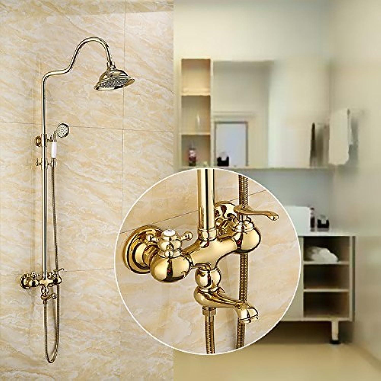 Shower pillar European vintage shower set gold full copper shower