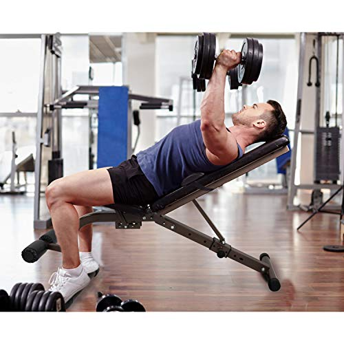 ER KANG Adjustable Foldable Weight Bench, 800 lbs Weight Capacity Workout Bench with Extra Backrest, Sit Up Bench, Decline/Incline/Flat for Home Gym, Strength Training, Weightlifting