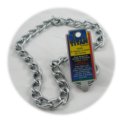 Coastal Pet Titan Chrome Choke Chain Dog Training Collar (Extra Heavy, 4 mm, 28 Inch)