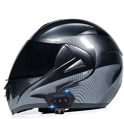 QBAMTX - Casco de motocicleta con Bluetooth con apertura frontal, aprobado por DOT/ECE ligero y modular, casco de motocross para hombres y mujeres