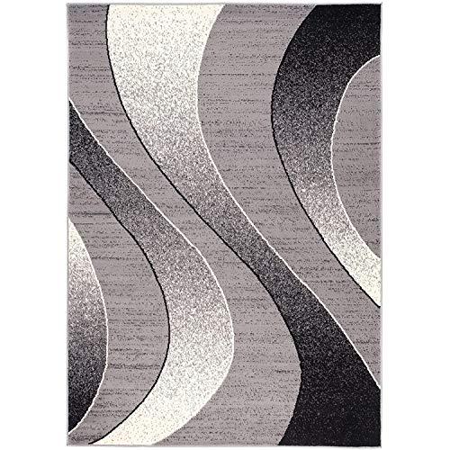 Alfombra Salon Grande Pelo Corto - Moderno Diseño Geométrico - Alfombra Cocina Habitación Dormitorio Comedor Gris 140 x 200 cm