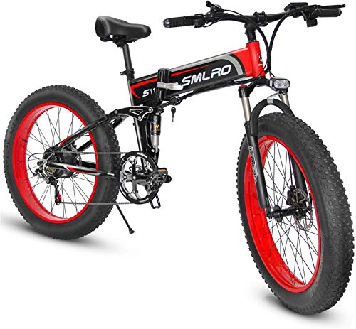 Erik Xian Electric Bike Electric Mountain Bike, 1000W Fat Electric Mountain Bike 13AH Battery 21Speeds Hydraulic Disc Brake(2 Battery) for The Jungle Trails, The Snow, The Beach