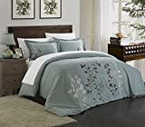 Chic Home Kaylee 3 Piece Duvet Cover Set Embroidered Floral Design Backing Zipper Closure Bedding-Decorative Pillow Shams Included, Queen, Sage