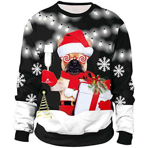 Zyyfly Pug Ugly Christmas Sweater for Men Women Funny Cute 3D Printed Xmas Pullover Black M