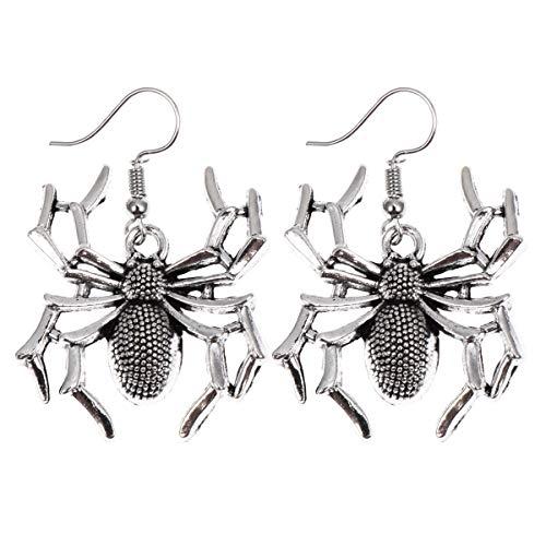 Un paio di orecchini pendenti con gancio a forma di ragno per Halloween e banchetti (argento)