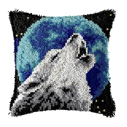 TBNOONE 43X 43CM Latch Hook Funda de Almohada Kits de fabricación de alfombras Costura DIY para niños/Adultos/Principiante con patrón de Lobo Regalo Conjunto de Manualidades Hechas a Mano
